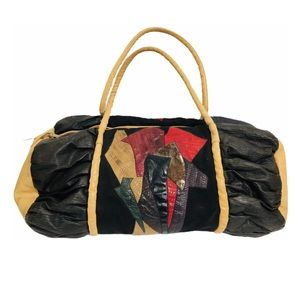 Vtg 90s Patchwork Leather Canvas Pony Hair Duffle